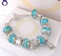 Free Shipping Chamilia Bracelet 2014 New Charm Beads Bracelet Bracelets&Bangles 925 Tibetan Silver Murano Glass For Women