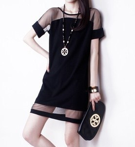 New 2015 Fashion Patchwork Chiffon Dresses Women's European Style Mesh Dress Ladies Casual Dress F(China (Mainland))