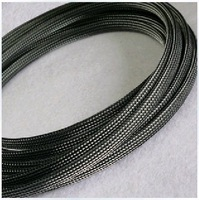 2014 Newest arrival flat OD 8mm 32feet=10m/lot black with clear PET expandable sleeve suitable for 6~12mm cables