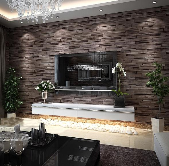 backstein tapete wohnzimmer:3D Stone Wall Living Room