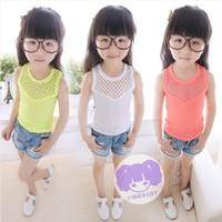 Retail girls hollow vest summer cotton sleeveless T-shirt Girls Cotton Tees Children hollow threaded fluorescent vest / T-Shirt