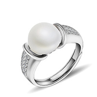 GNJ0554 Fashion Natural Freshwater Pearl Hot sale 925 Sterling silver Jewelry Wedding rings  for Women 7.5mm