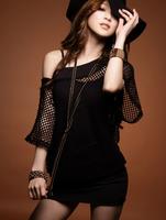 Sexy suit !! Female's hollow out blouse +Condole belt dress Club Wear Package buttocks dress Women's black dress