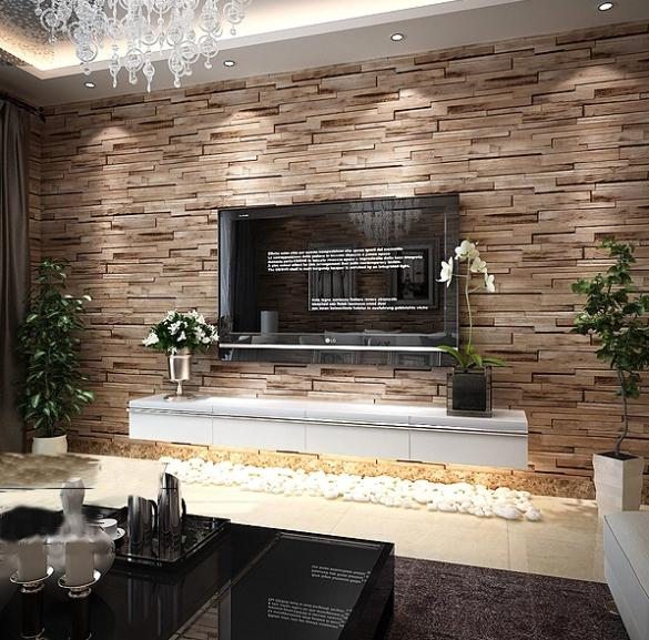 Wood Wall Decor For Living Room : Aliexpress buy pvc wood stone brick wallpaper d
