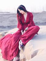 Women Cotton Linen Vintage Dress Original Design Women's Princess Dress V-Neck Bohemian Dress Free Shipping