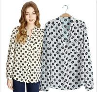New Fashion Ladies' elegant Sunflower print blouse Turn-down Collar casual slim shirts quality brand designer tops