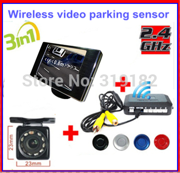 Wireless Video Parking Radar 4 Sensors Kit 3.5 inch Car Rear View Mirror Monitor + LED Rear View Car Camera Parking Assistance(China (Mainland))