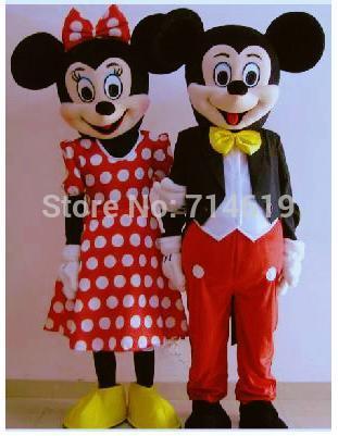 2014 vendem como bolos quentes adulto de alta qualidade mickey mouse e minnie mascote fantasias halloween roupa terno fantasia vestido cosplay(China (Mainland))