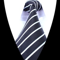 2014 960-pin Classic Striped Men Jacquard Woven Gentlemen Necktie Tie 100% Silk T689