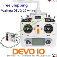 2014 New Arrive Walkera Devo 10 White 10ch transmitter 2KM 2.4Ghz Telemetry Function Radio System + RX1002 Receiver freeshipping