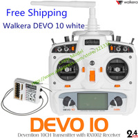 2014 New Arrive Walkera Devo 10 White 10ch transmitter 2KM 2.4Ghz Telemetry Function Radio System + RX1002 Receiver freeshipping