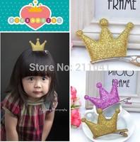 Lovely kid girls glitter crown barrettes hair clips sweet hair pins children bobby pins cute hair accessory mix colors G61