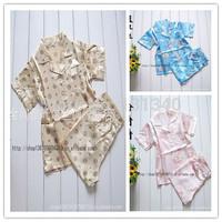 2014 children pajamas,kids pajamas sleepwear set,summer Silk pyjamas,boys girls baby nightgown suit,short pjs,unisex,mix
