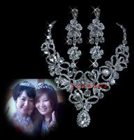 Alloy rhinestone bride crystal necklace earrings formal dress wedding accessories popular accessories 11