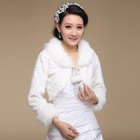2013 bridal winter wedding dress formal dress cheongsam all-match cape long-sleeve fur shawl white mpj053
