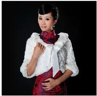 Beautiful bride fur shawl cape wrap wedding married mpj029