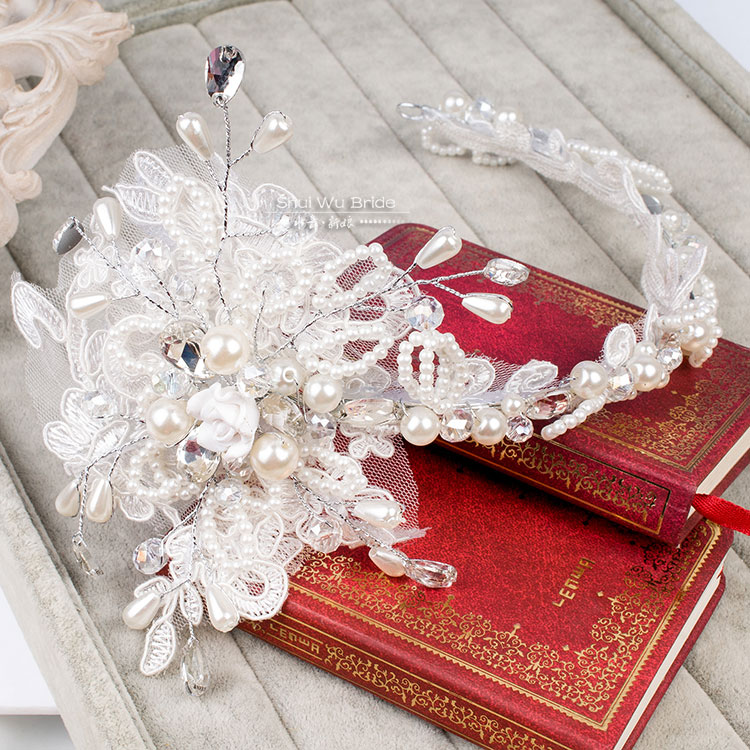 Water bride hair accessory lace pearl wedding dress hair accessory white hair bands marriage accessories primped