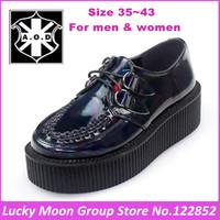 5cm Heel Unisex 2014 Summer New Arrival Navy Blue Lasar British Creepers Platform Men And Women Big Size Shoes EUR 35~41 42 43