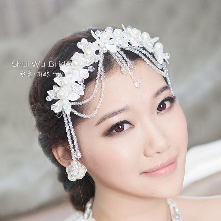 Crystal beaded the bride hair accessory wedding dress hair accessory marriage accessories lace tassel formal dress
