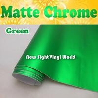 Top Quality Green Matte Metallic Vinyl Film Matte Chrome Vinyl Air Free Bubble For Car Wraps Size:1.52*20M/Roll (5ft x 65ft)