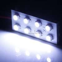 Free shipping10 PCS  8SMD-1210 LED Car reading dome Panel interior lighting auto white Light lamp with 2 Different Adapters