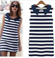 CHEAPEST!!!2014 Clothing Women Fashion Denim Sailor Collar Sleeveless Casual Striped Slim Dress Ladies Free Shipping