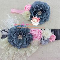 2pcs set grey pink ivory baby girl flower sash and Matching headband mom baby shower sash Photography props 8 set/lot