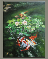 original oil painting,koi fish painting,hand oil on canvas,huge 40''x30'',framed,ready to hang