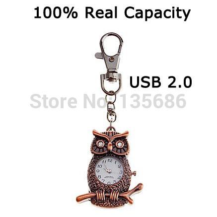 Hot Selling Real capacity Owl Clock Shaped Metal style 2GB 4GB 8GB 16GB 32GB 64GB Pen drive Good quality USB flash drive U Disk(China (Mainland))