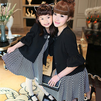 Free shipping! 2014 spring family fashion black small outerwear houndstooth one-piece dress  for mother and daughter