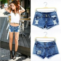 New 2014 Women Shorts Hot Sale Sexy Snowflake Ripped Women Shorts Fashion Lady Denim Shorts  All-matched Short Jeans