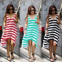 Girl Casual Striped Irregular Beach Dress Women Sleeveless Tank Sundress Long Maxi Dress Summer Dropshipping Vestidos  16368