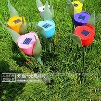 2014 New 4PCS/LOT Solar Garden Light Outdoor Yard Solar Powered LED Tulip Landscape Flower Lights for Garden Path Way