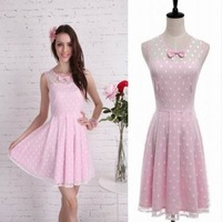 High-end Preppy Style Summer Woman Flare Sleeve Dot Bow Mini Pink Dress Round Collar Slim A-Line Hem Prince Dress For Party