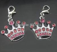 50pcs zinc alloy pink crown Hang Pendant Charm DIY accessory