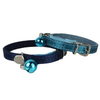 Pet Cat Collar Navy Blue / Green Cat Adjustable Necklace Fashion Charm with Belt Star Stud Pet Products