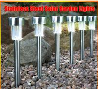 5pcs/lot Stainless steel solar garden lights , 37CM Outdoor LED solar lamp lights
