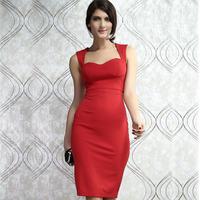 Fashion red belt cup deep V-neck empty thread sleeveless slim hip midguts one-piece dress 6185