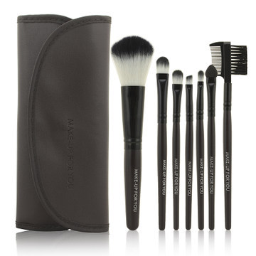 2014 HOT !! Professional 7 pcs Makeup Brush Set tools Make-up Toiletry Kit Wool Brand Make Up Brush Set Case free shipping PY(China (Mainland))
