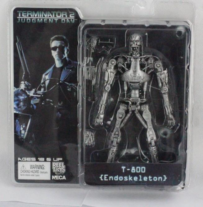 "Free Shipping 7"" 18CM The Terminator 2 Judgment Day T-800 Endoskeleton PVC Action Figure Robot Toys Retail(China (Mainland))"