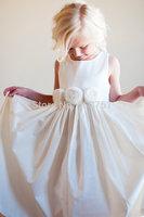 Flower Girl Dress Rustic flower girl Bridesmaid dress natural flower girl dress cotton flowergirl dress.