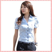 2014 summer fashion office ladies' short-sleeve slim Blouses puff sleeve shirt female white/blue/pink