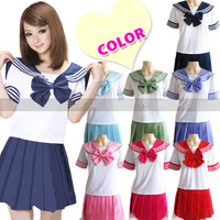 New Japanese Japan School Uniform Dress Sailor Shirt Tops +Skirt Cosplay Costume Anime Girl Lady Lolita Cute