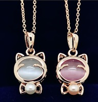Hot Selling! Cute Women Jewelry Korean High Quality Opal Necklace Pearl Pendant Necklace Lucky Cat Necklaces for Lady GL-047