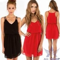 Black Red New 2014 Summer Beach Women Sexy Dress Women's Fashion Style Chiffon Slim Spaghetti Strap Mini Dresses M L XL 003185