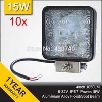 "Wholesale 10 PCS 4"" Inch 15W LED Work Working Driving Light Lamp IP67 12V 24V For Motorcycle TRAILER 4WD ATV 4X4 BOAT FLOOD SPOT"