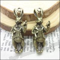 15 pcs Charms Rabbit Pendant  Antique bronze  Zinc Alloy Fit Bracelet Necklace DIY Metal Jewelry Findings
