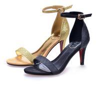 Nightclub Queen  European style  women's summer gold one belt strap   thin stiletto heels  sandals shoes with red bottom pumps