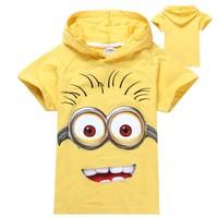 1pcs New 2014 boys girls despicable me 2 minion short t-shirts kids baby children t shirts tee child hoodies clothing