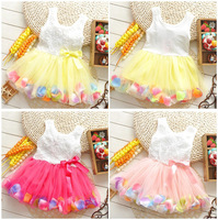 4pcs Children girl's 2014 girl child aesthetic flower petals multicolour sweep 1540 one-piece dress